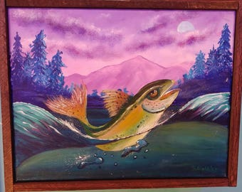 Mountain trout acrylic painting