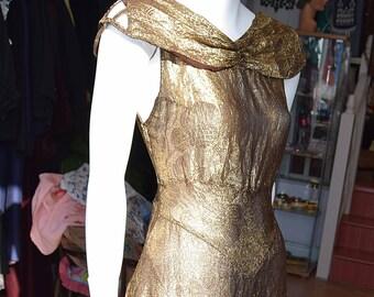 """1920's Gold Lame Dress 34"""" Bust 28"""" waist"""