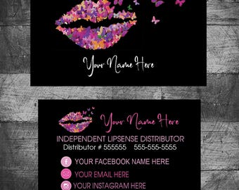 Butterfly Business Card LIPSENSE, SeneGence Business Cards, LipSense Contact Cards,  Custom,Distributor, Printable, Digital Download