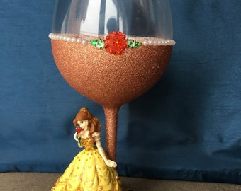Disney Belle Glitter Wine Glass
