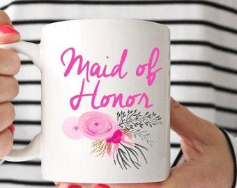 Floral Maid of Honor Coffee Mug - Coffee Cup - Large Coffee Mug - Statement Mug - Sassy Mug - Large Mug - Funny Mug - Statement Mugs
