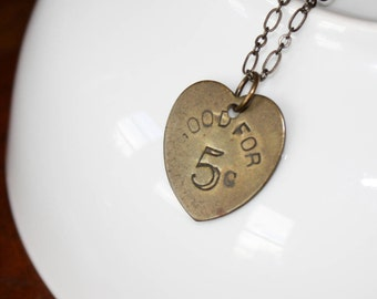 Vintage Heart Tag Necklace - Vintage Brass Stamped Tag