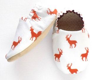 Deer Baby Boy Shoes, Baby Boy Booties, Baby Soft Shoes, Slip On Baby Shoes, Deer Baby Boy Gift