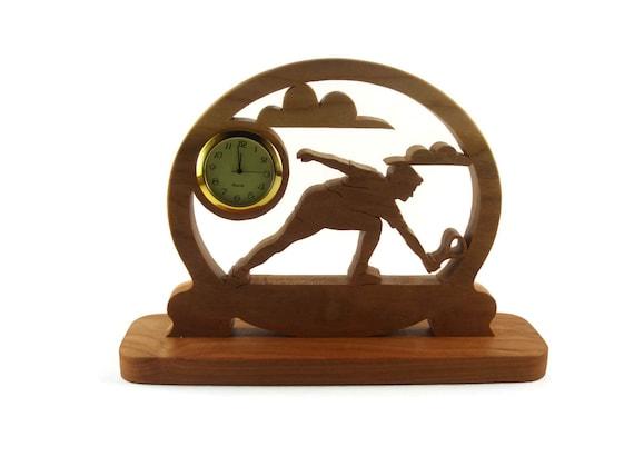 Tennis Player Desk Clock Handmade From Cherry Wood By KevsKrafts, Badmitten, Racketball