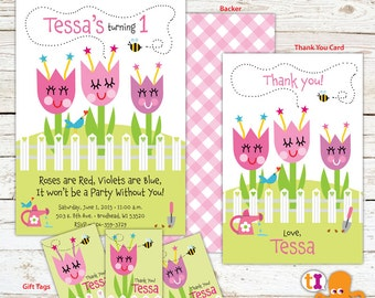 Flower Garden Birthday Party Invitation for Kids