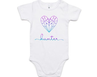 Personalised Onesie | Custom Baby Clothes | Geometric Heart Design | Ombre Colours | Add Your Own Name