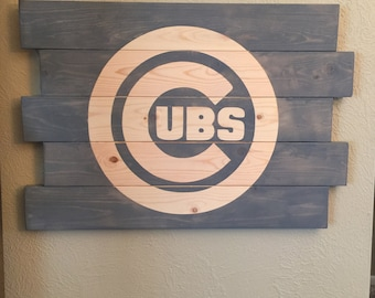 Cubs Logo - Gray Stained Wooden Sign