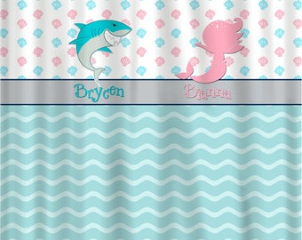 Shark & Mermaid Shared Shower Curtain with Sea Shells and Waves-  Pink, Navy, Sea Blue and White Combination - Novelty Saying- 2 characters