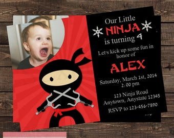 Red Boy Ninja Photo Birthday Party Invitation