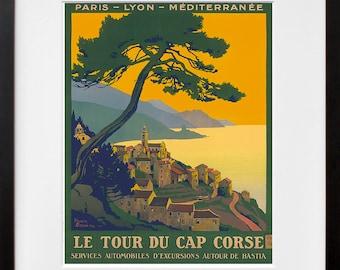 France Art Print Corsica Travel Poster (TR100)