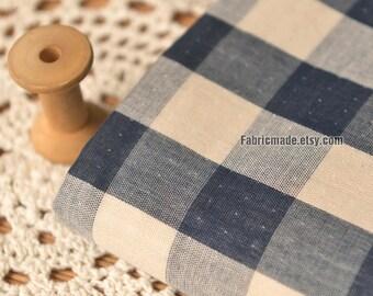 Ivory Navy Blue Plaid Cotton Gauze Fabric Double Layers - 1/2 yard