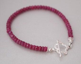 Red Ruby Sterling Silver Bracelet, Ruby Bracelet, Ruby Jewelry, Red Ruby Jewelry, July Birthstone, Birthstone Jewelry, Silver Flower Clasp