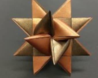 BRONZE/COPPER LARGE two tone German paper star ornament Moravian star Froebelstern