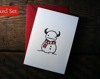 Letterpress Snowman Monster Card - Boxed Sets