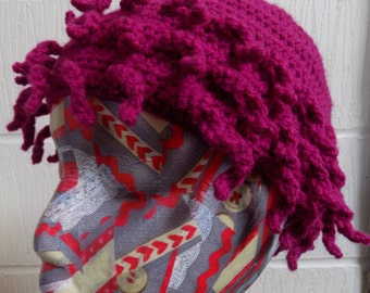 Large Child's/Small Adult's Crochet Pink Hat - Weird Sea Creature, Urchin, Squid-like Tentacles