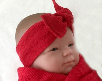 Muslin headband, baby bow headband, newborn headband, headwrap for baby, red baby headband, baby knot headband