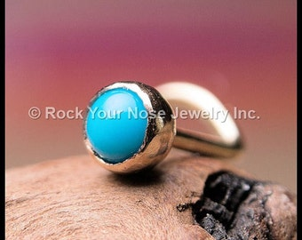 Turquoise and Gold Nose Stud - 14K Solid Yellow Gold with Natural Turquoise - CUSTOMIZE