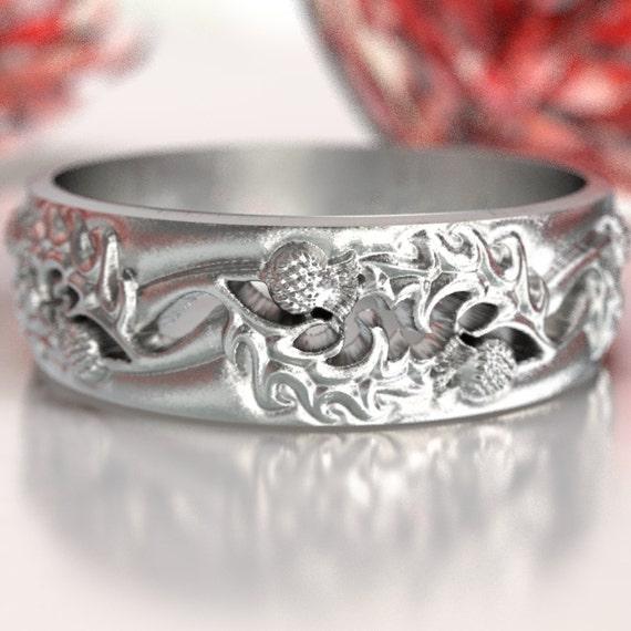 Scottish Bands: Thistle Wedding Band 925 Sterling Silver Scottish Ring