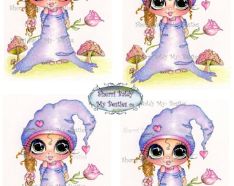 INSTANT DOWNLOAD Digital Digi Stamps Big Eye Big Head Dolls Bestie New Bestie colored printable 444  My Besties By Sherri Baldy