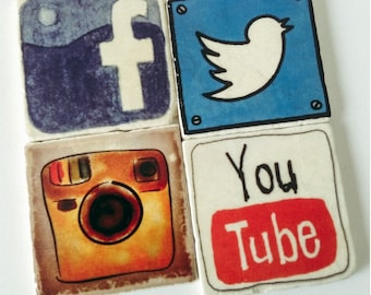Social Media Apps Coasters - App Coasters - Coasters for Techie - Office Decor - Set of 4 - Twitter Instagram YouTube Facebook Images