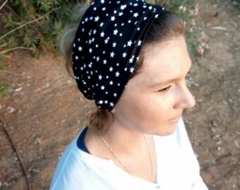 Black headband,Turban headband,hair accesorie,twist head band,stretchy headband,head wrap,3 in 1 headbands,boho headband,stars headband