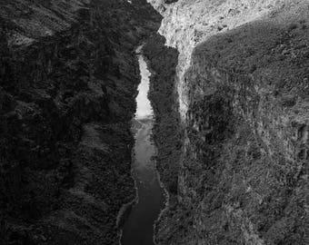 Rio Grande Gorge New Mexico print in Black and White, 8x12 or 16x24