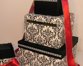 Wedding Card Box Damask / Black and Red/Scarlet Gift Card Box Money Box  Holder--Customize your color