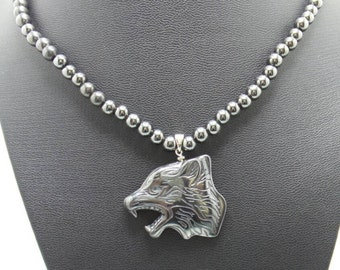 Handmade Hematite necklace with Hematite wolfhead pendant.
