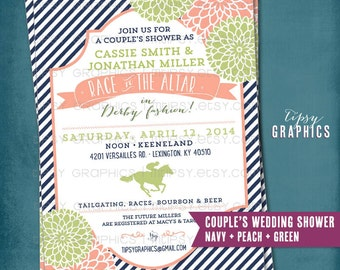 Kentucky Derby Race to the Altar Bridal/Wedding Shower Invitation. Stripes and Mums.  Any text or Colors by Tipsy Graphics