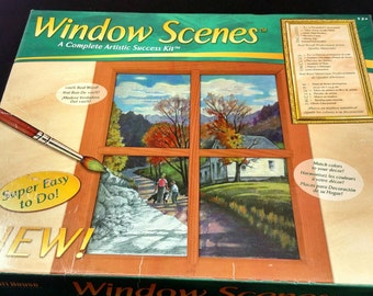 Painting kit Window Scenes by Craft House 8 x 10 acrylic paints pre-printed canvas wooden frame