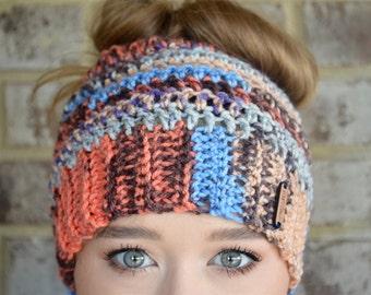 Crochet Messy Bun Beanie, Messy Bun Hat, Messy Bun Beanie, Ponytail Beanie, Crochet Bun Beanie, Crochet Ponytail Beanie, Sunrise Sky Juliet