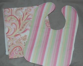 Reversible Paisley Stipe bib and burp cloth set
