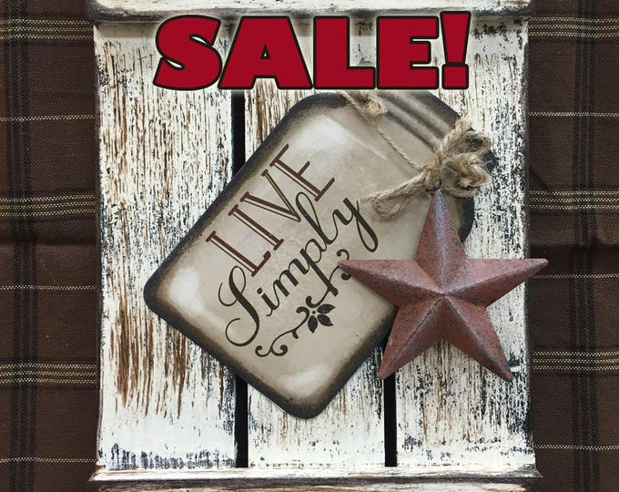 SIGN Mason JAR LIVE Simply Reclaimed Pallet Wood Rustic Laugh Love Simplify Life Distressed Ball Canning Country Kitchen Star Wall Shutter
