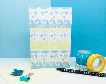 Happy Birthday With Love Card - Surf Print  - Surf Card - Surf Art - Surf Birthday