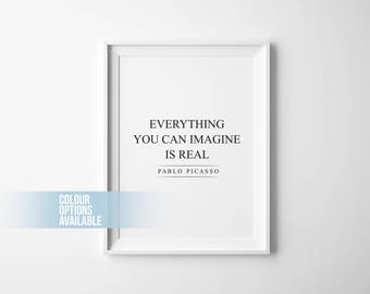 Pablo Picasso Quote, Typography Poster, Home Decor, Motivational, Wall Art Prints, Print, Wall Decor, Art Prints, Quotes, Black and White