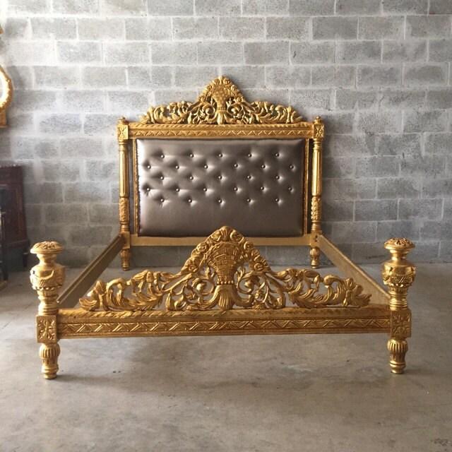 Wonderful Vintage Bed Frame Full Queen Antique Furniture Throne Bed Frame  FC09