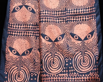 """Original lino-cut print on habotai black silk, art to wear, hand crafted and hand printed by Jody Bare: Primal Consciousness (14"""" x 72"""")"""