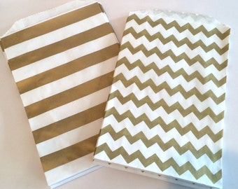 Party Favor Bags - Gold Metallic Chevron or stripe Paper Treat Bags - Bakery Bags 7x5 medium size -wedding favor bags  - 48 count