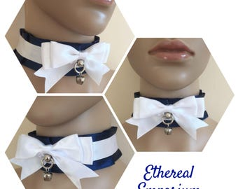 Annabell Navy Blue Choker - Pleated Pet Play Collar BDSM Choker Kitten Play