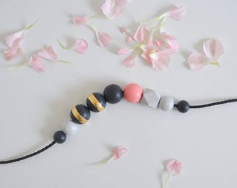 Wooden bead necklace. Gray necklace. Gold necklace. Wooden necklace. Wooden beads. Pink necklace. Geometric necklace. Geometric beads.