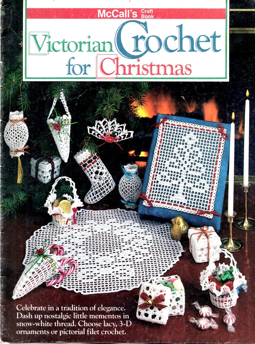 Viktorianischen Häkeln für Weihnachten Filet Baum Deckchen