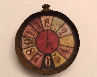 Vintage Inspired Miniature Dollhouse Rusted Wall Clock - 1 1/4 Round