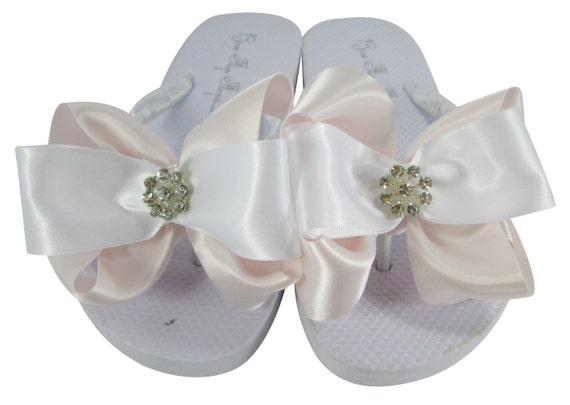 Heel Rhinestone Ivory Bling or Flat Bow Flower Bridal flop Flip White Daisy Bridesmaid Wedge Pink Sandals Girl flip Flops RqgaSwU