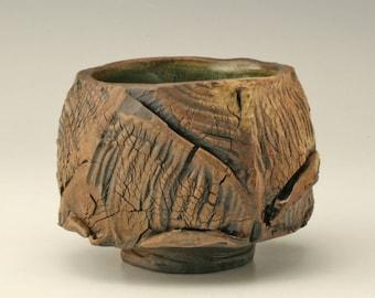 tea bowl with jagged cuts, chawan with wood fired look, aged teabowl, matcha bowl, rustic japanese tea bowl, antique yunomi, Shikha