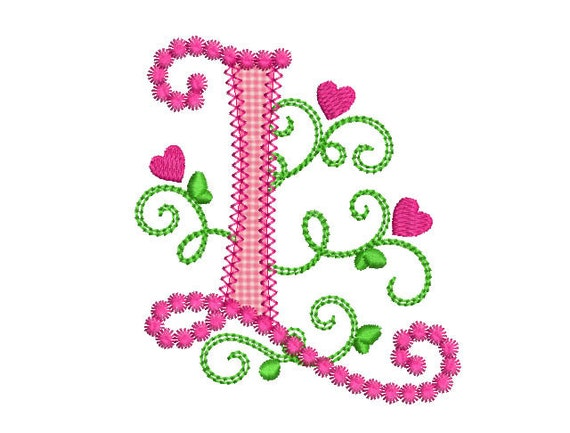 Cute Letter L Alphabet For Lil Princess Hearts Applique Embroidery Design Monogram Initials Valentines Day AppliqueDL060 From EmbroideryLand On Etsy Studio