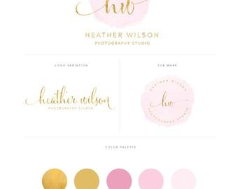 Premade Logo Design - Branding Package - Branding Kit - Watercolor Logo - Gold Logo - Photography Logo - Blogger Logo - Business Logo