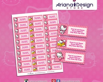 Printable Hello Kitty inspired Address Labels/Return Address Labels