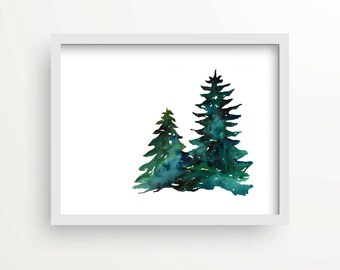 Watercolor Pine Tree print, holiday print, wall decor, holiday gift, hostess gift, rustic art, cottage decor, rustic pine trees, lake, cabin