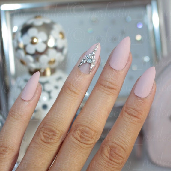 Blush nude and silver with swarovski crystals • Handpainted False ...