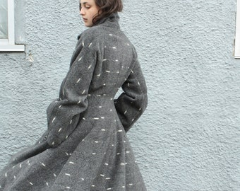 ON LAYAWAY for Jamie- Vintage 1940s 1950s Lilli Ann Princess Coat // 40s 50s Flecked Grey Wool Fit and Flare Coat// Paris New Look